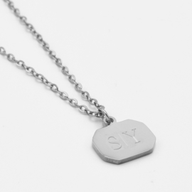 Initial vintage pendant necklace | 1,2 or 3 initials | Zilver