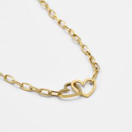 Double heart necklace | Goud