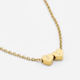 Tiny heart necklace | 2 hearts | Goud
