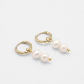 Double pearl hoops   goud