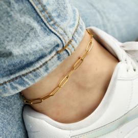Paperclip ankle bracelet | goud