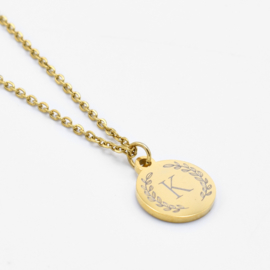 Initial wreath necklace | Style 2 | Goud