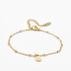 Initial hexagon bracelet | 1 initial | beaded chain | Goud