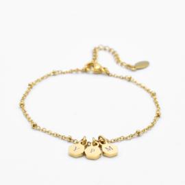 Initial hexagon bracelet | 3 initials | beaded chain | Goud