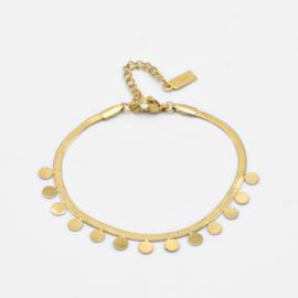 Snake chain bracelet coins | Goud