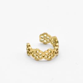 Flower ear cuff | Goud
