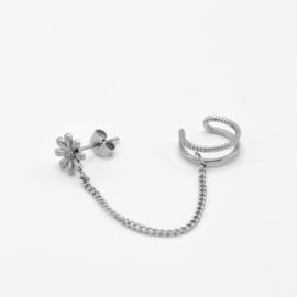 Flower chain ear cuff | Zilver