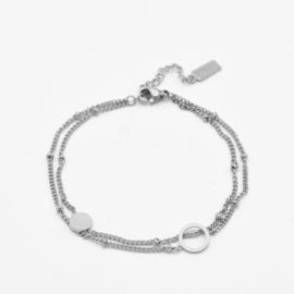 Double bracelet circles | Zilver