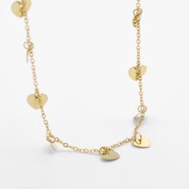 Multi heart necklace   Goud