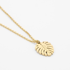 Small monstera necklace | Goud