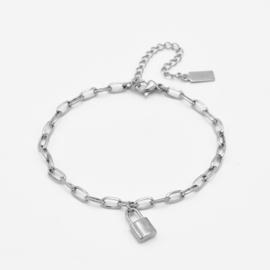 Chunky lock bracelet | Zilver