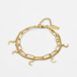 Paperclip & moon bracelet | Goud