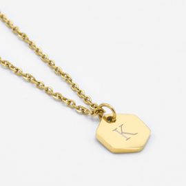 Initial hexagon necklace | tot 3 initialen | Goud