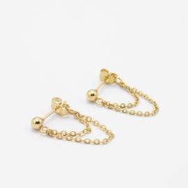 Double layered chain earrings | goud