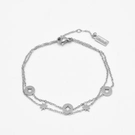 Double bracelet multi stars | Zilver