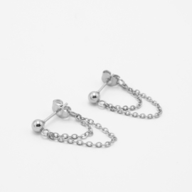Double layered chain earrings | zilver