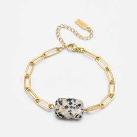 Chunky dalmatian jaspis bracelet | Goud