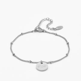Dangle disc bracelet | gourmet beaded chain | Zilver