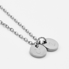 Initial coin necklace | 2 coins | Zilver