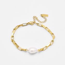 Chunky pearl bracelet | Goud