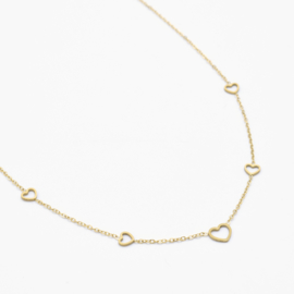 Multi open heart necklace | Goud