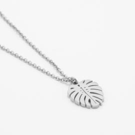 Small monstera necklace | Zilver