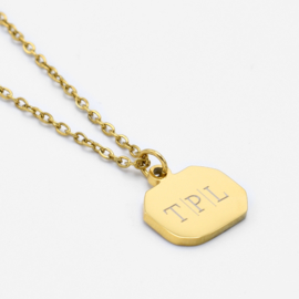 Initial vintage pendant necklace | 1,2 or 3 initials | Goud