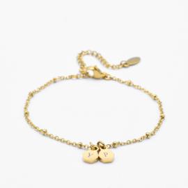 Initial hexagon bracelet | 2 initials | beaded chain | Goud