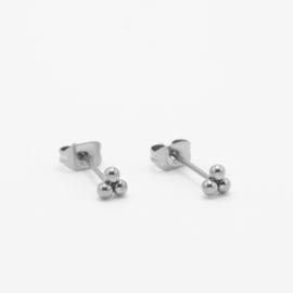 Triple dot studs 4 mm | zilver