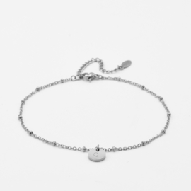 Initial ankle bracelet disc   beaded chain   1 initial   Zilver