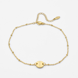 Single disc anklet | beaded chain | Goud
