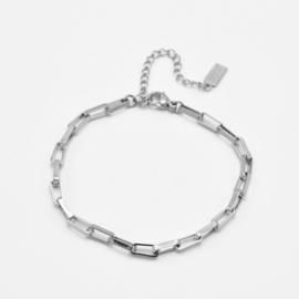 Chunky box chain bracelet | Zilver