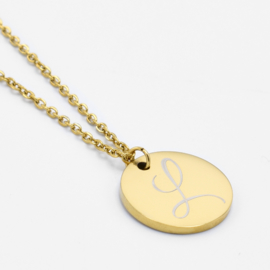 Single initial coin necklace | Goud