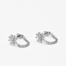 Flower chain studs | Zilver