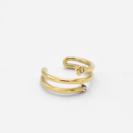 Spiral stone cuff | Goud