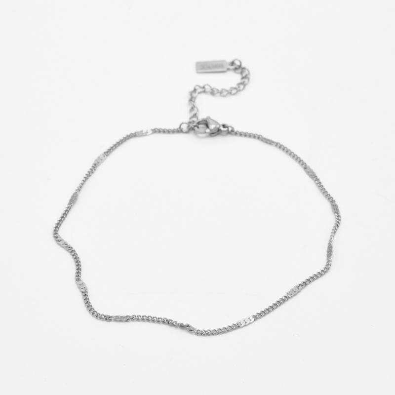 Shimmering chain anklet | Zilver