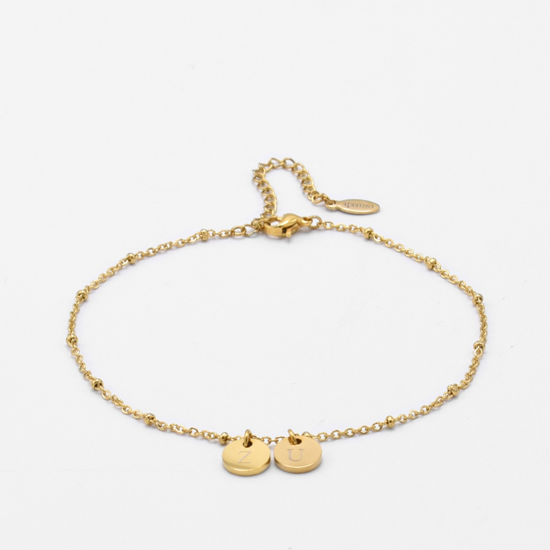 Initial ankle bracelet disc   beaded chain   2 initials   Goud