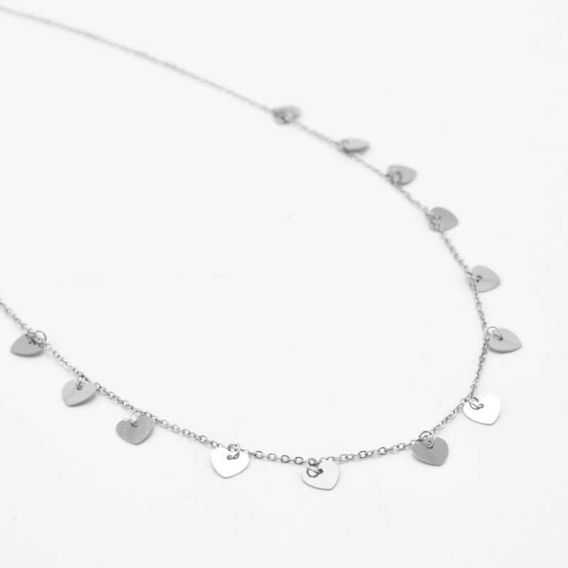 Multi heart necklace   Zilver
