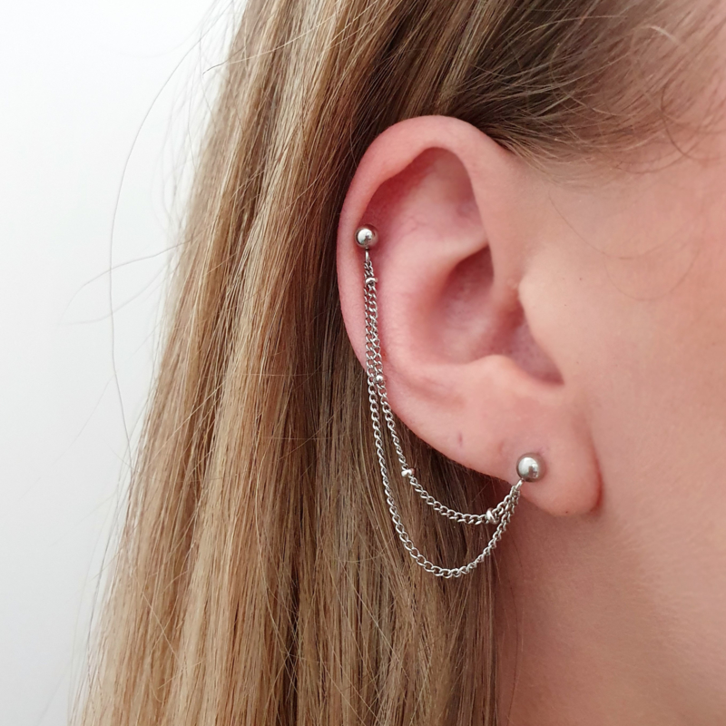 Helix double layered curbed chain | Zilver