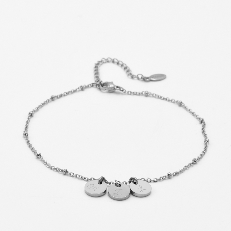Initial ankle bracelet disc   beaded chain   3 initials   Zilver