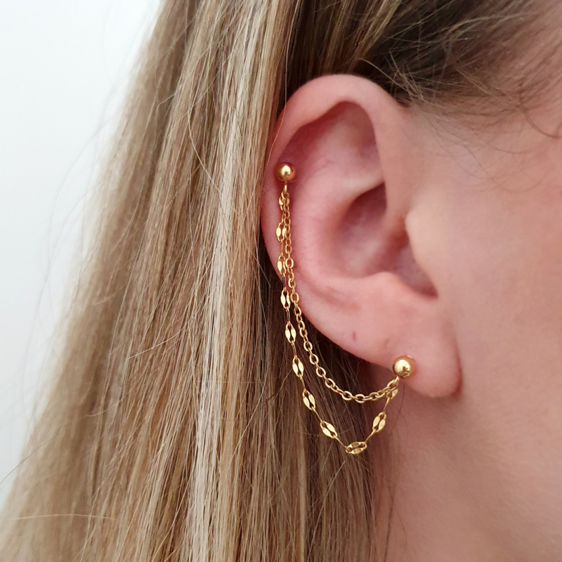 Helix double layered mixed chain | Goud / zilver