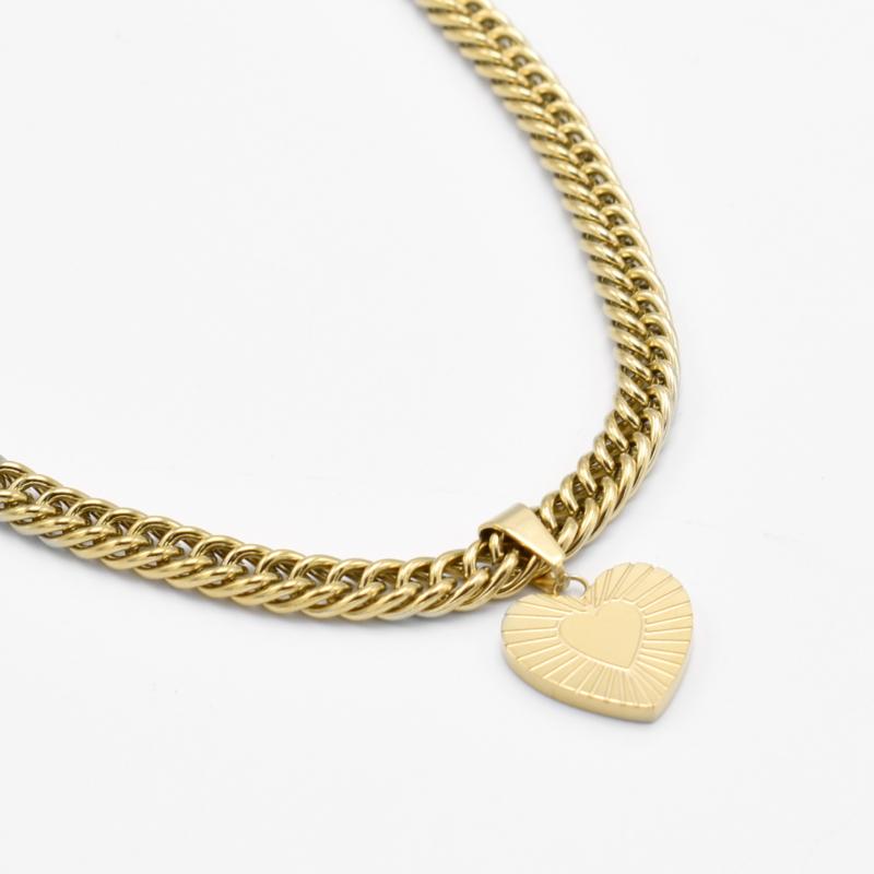 Chunky heart pendant necklace | Goud