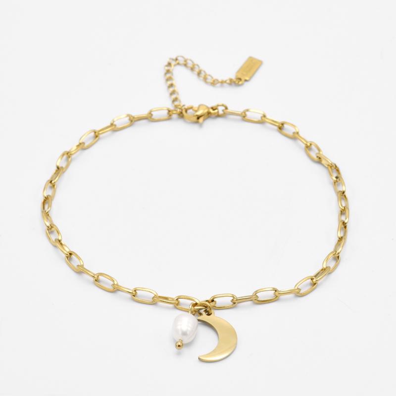 Moon & pearl anklet   Goud