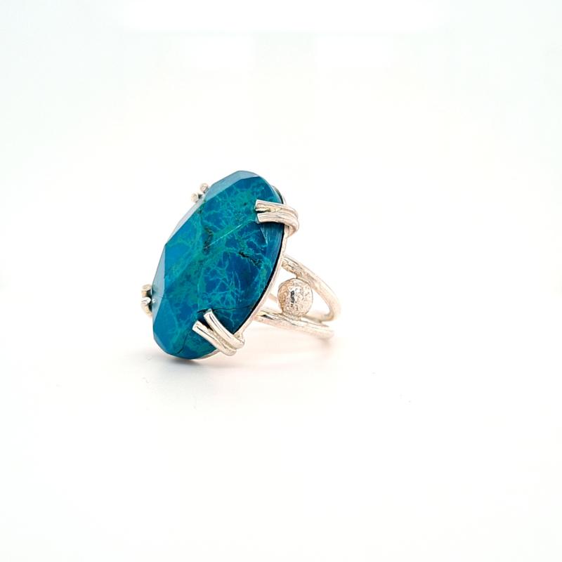 Zilveren Ring met Chysocoll