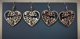 houten  oorbellen hartje