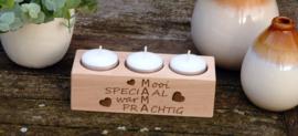 houten theelichthouder mama/moederdag