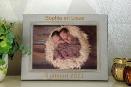 houten rustieke fotokader 13x18 geboorte