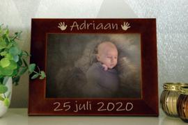 bruine houten fotokader 13x18 geboorte
