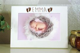 gepersonaliseerde witte fotokader 10x15  geboorte