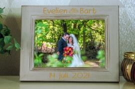 houten rustieke fotokader 10x15 huwelijk